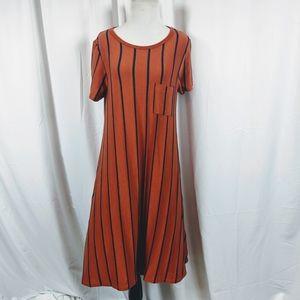 Lularoe Carly Dress Orange Striped Shift Dress